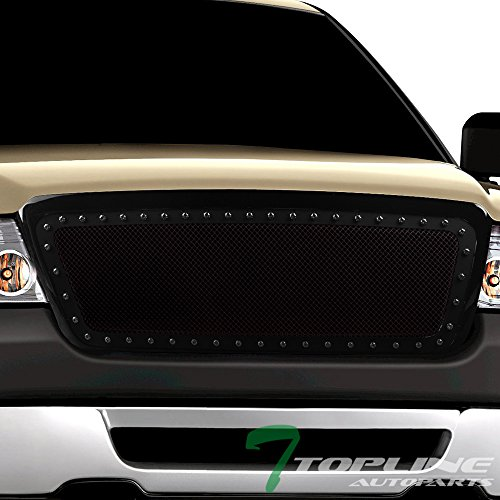 Topline Autopart Glossy Black RVT Rivet Bolt Steel Mesh Front Hood Bumper Grill Grille For 04-08 Ford F150