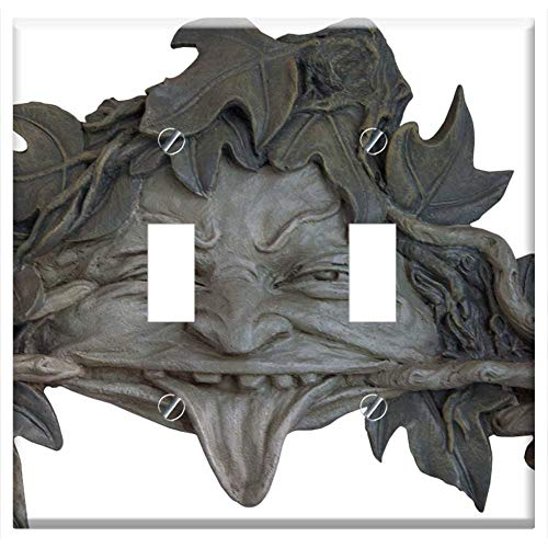 Switch Plate Double Toggle - Mask Fash Devil Art Deco Craft Sculpture
