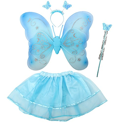 [Acediscoball Girls' Butterfly Wings Fairy Dress up Costume Tutu Dress Headband Blue] (Cute Fairy Costumes Girls)