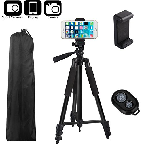BestTrendy 42-inch Portable Aluminum Camera Tripod, Lightweight Travel Cellphone Mount Stand with Bag, Bluetooth Remote Control for DSLR Cameras, iPhone, Samsung, Gopro (Black)
