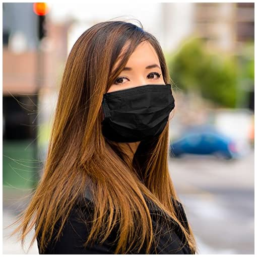 TecUnite Disposable Breathable Anti-Dust Ear-loop Face Mask 4 Layers Fashion Dust Filter Mask (Black)(pack of 50)