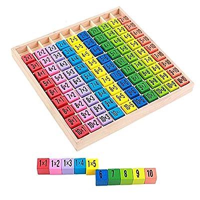 Montessori Wooden Mathematics 1-100 Digital Cognitive Teaching Aids 1010 Multiplication Table Children Math Educational Toy: Clothing