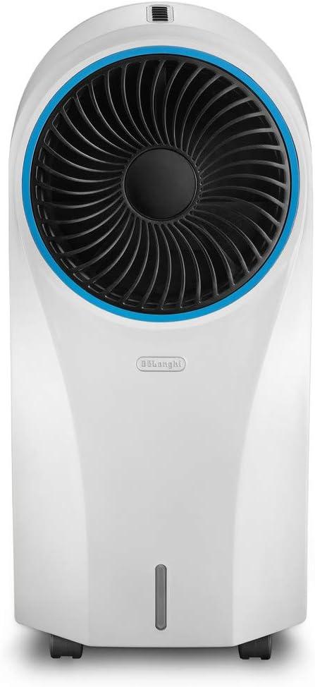 DeLonghi EV250.WH Climatizador evaporativo con ionizador, deposito con 6 h de autonomía, protección IPX4, pantalla LED y mando a distancia, 55 W, 4.5 litros, 53 Decibeles, Blanco