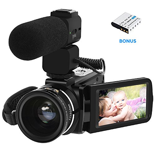 Video Camera, ORDRO Camcorder Full HD 1080P 30FPS WiFi Camera Digital Video Camcorders with Microphone and 0.45x Wide Angle Lens