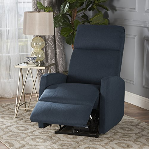 Sophie Tufted Fabric Power Recliner Chair (Navy Blue) - Blue Fabric Recliner