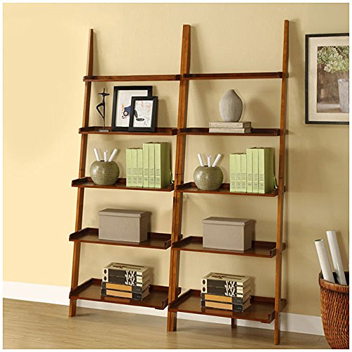 Mahogany Five-tier 2-piece Leaning Ladder Shelf Set by Martin Tools