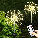 Solar Lights Garden Outdoor Stake Light, 2 Pack 120 LED Solar Firework Starburst Lights with Remote Control 8 Modes Waterproof Twinkle Light for Patio Yard Walkway Pathway Lawn Party Decor(Warm White)