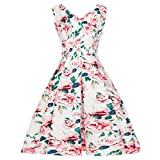 Syban Women Vintage Floral Bodycon Sleeveless Casual Evening Party Prom Swing Dress