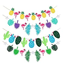 Xiaopangzi 4 Strings Flamingo And Pineapple Banner Bunting Summer Party Garland Birthday Photo Prop Tropical Luau Pool Hawaiian Party Bunches Decor