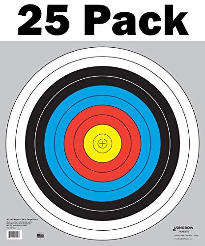 - Longbow Targets 60 cm / 24 in Bullseye Archery (10 Ring) and Gun Targets (25 Pack)