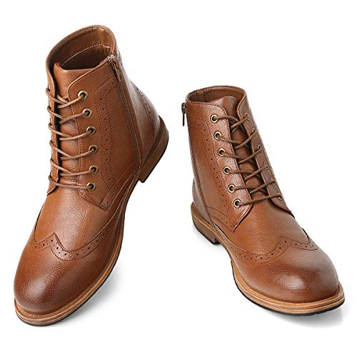Men's Wingtip Oxford Boots Chukka-Lace-Up Zip Boots Ankle Dress Boots Work Combat Hike Brown 9.5