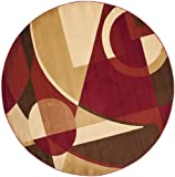 Safavieh Porcello Collection PRL6845-4091 Modern Abstract Art Red and Multi Round Area Rug (5′ Diameter)