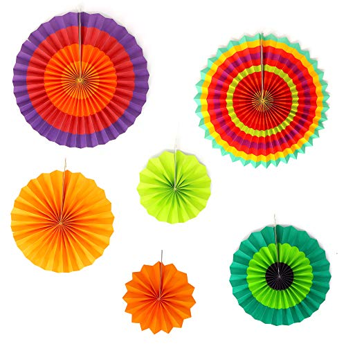 Big Mo's Toys Paper Fans – Green Yellow and Orange Mexican Fiesta Party Decorations Supplies Paper Fan Rosettes ()