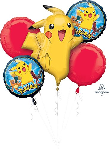 Anagram Pokemon Pikachu and Friends 5 Mylar Balloons Bouquet ~ Party -