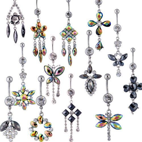 MyNewLine 100pcs Wholesale Lot 14G Stainless Steel Banana Navel Belly Button Rings Mixed Styles
