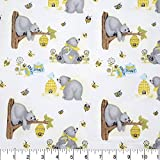 A.E. Nathan Comfy Flannel Print Bears & Bees White Fabric Fabric by the Yard