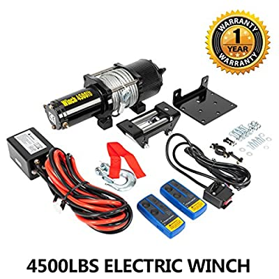 12V 4500LBS Electric Recovery Winch for Car Truck Trailer SUV UTV ATV Boat with 2 Wireless Handheld Remote Control Kit