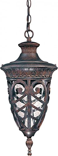 Nuvo 60 2058 Hanging Lantern with Clear Seeded Glass, Dark Plum Bronze
