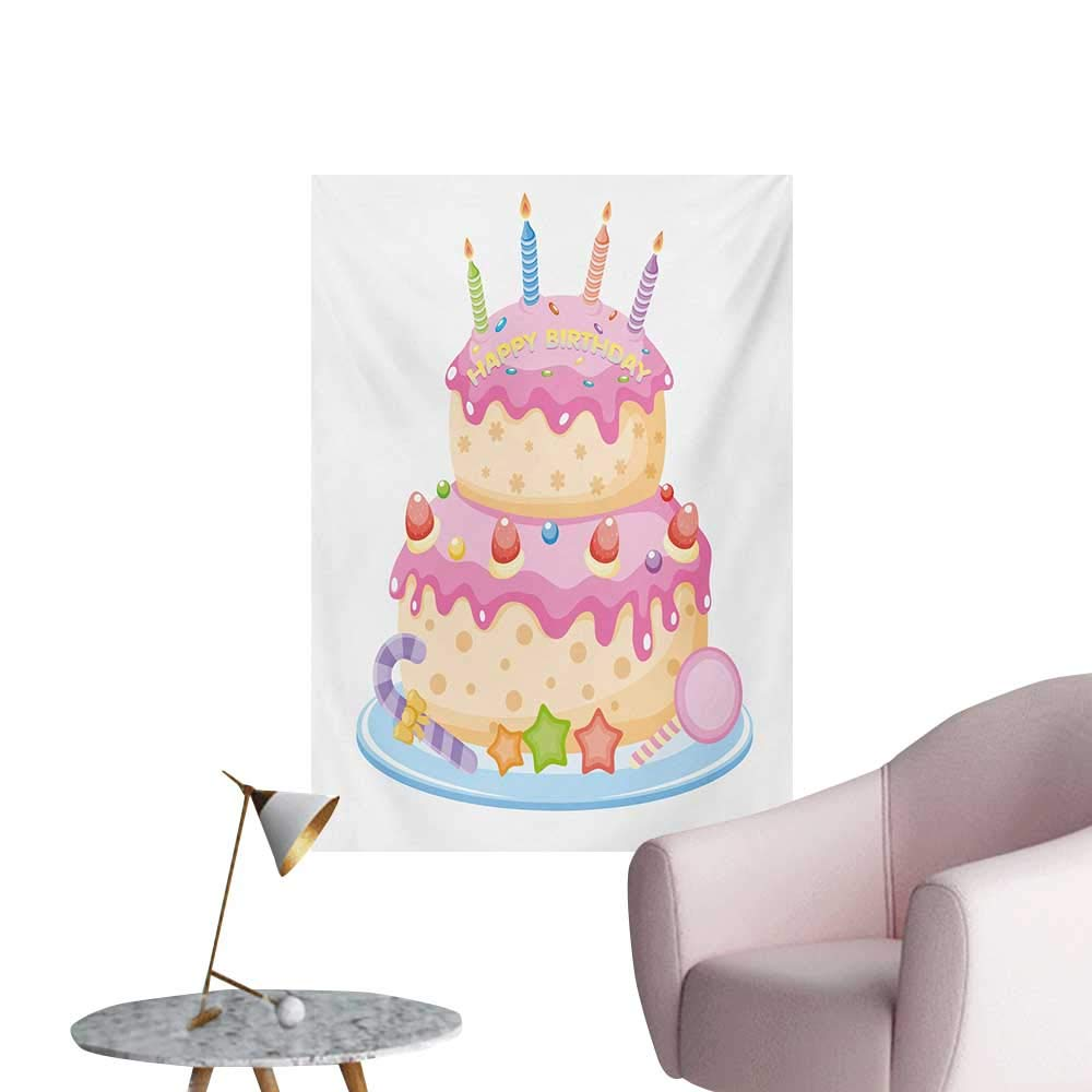 Anzhutwelve Kids Birthday Wall Picture Decoration Pastel Colored Birthday Party Cake with Candles and Candies Celebration ImagePale Pink W32 xL48 Wall Poster