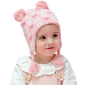 Aablexema Baby Toddler Winter Earflap Beanie Hat, Cute and Warm Kids Hat Fleece Lining
