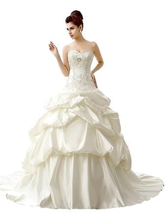 Edith qi Strapless Ruched Taffeta Pick-Up Skirt Wedding Dress Bridal ...