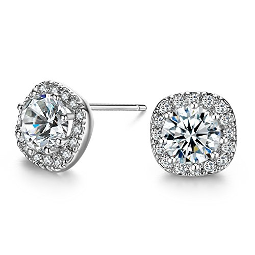 SBLING Platinum Plated Sterling Silver AAAA Cubic Zirconia Cushion Shape Halo Stud Earrings (1.90 cttw) by SBLING