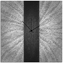 Metal Art Studio 'Black Stripe Clock' Contemporary Metal Wall Clock