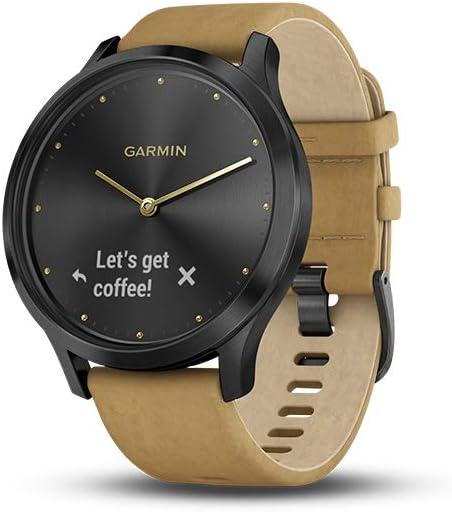 Garmin Vívomove HR Premium Negro con Correa de Cuero marrón Claro