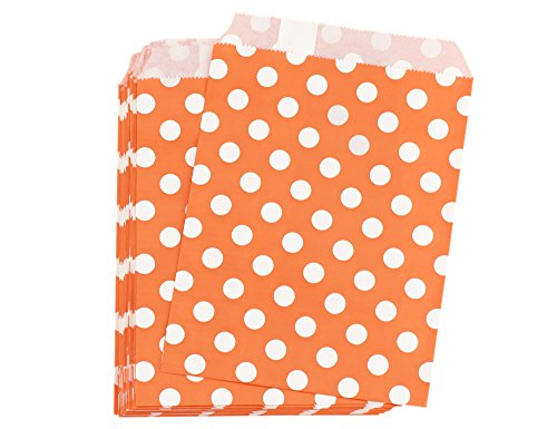 FiveSeasonStuff Greaseproof Paper Bags for Food Candy Goodies Gift Party Wedding Favors Birthday Baby Shower Buffets Picnics BBQ Arts & Crafts DIY Retail (5.12''x 7'') — PACK 100 (Orange, Polka Dots) - Candy Dots Paper