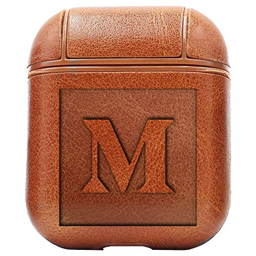 (Logo Monogram Medium (Vintage Brown) Engraved Air Pods Protective Leather Case Cover - a New Class of Luxury to Your AirPods - Premium PU Leather and Handmade exquisitely by Master Craftsmen)