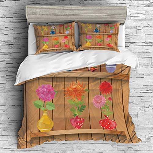 3 Pieces (1 Duvet Cover 2 Pillow Shams)/All Seasons/Home Comforter Bedding Sets Duvet Cover Sets for Adult Kids/King/Daffodil,Glass Vases with Colorful Flowers on Wooden Shelves with Pastel Effects Ar