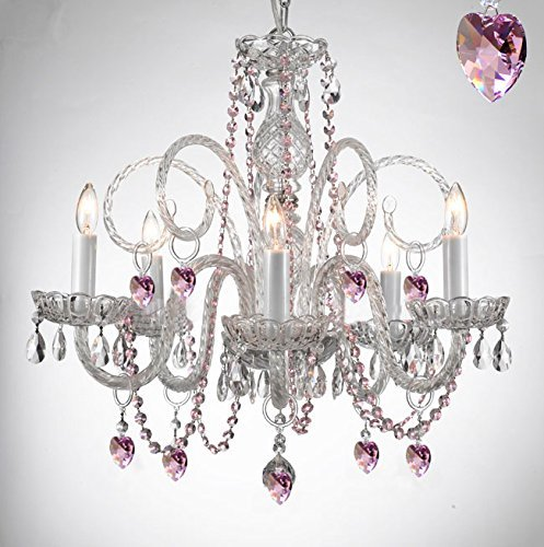 Empress Crystal (Tm) Chandelier Chandeliers Lighting with Pink Color Crystal Hearts! Swag Plug In-chandelier w/ 14′ Feet of Hanging Chain and Wire! PERFECT FOR KID'S AND GIRLS BEDROOM!