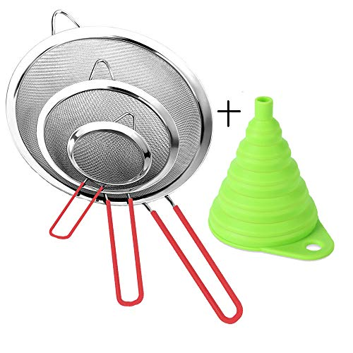 Stainless Steel Fine Mesh Strainer Colander Sieve Sifters with Sturdy Silicone Handle, Free Bonus Silicone Foldable Funnel for kitchen Tea Coffee Powder Fry Juice Vegetable Fruit Silver 3 Pack ()