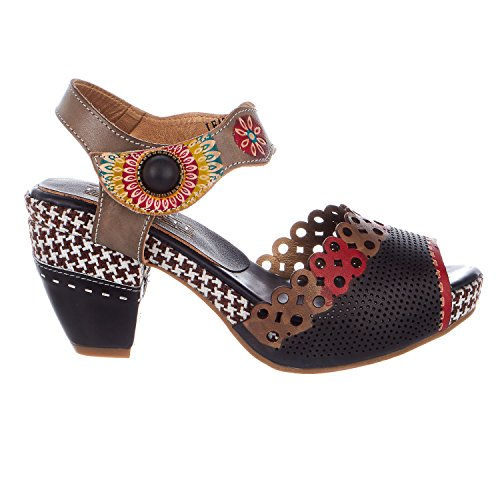 L'Artiste by Spring Step Women's Jive Sandals,  Black/Multi- 38 M EU / 7.5-8 B(M) US Strap Spring Sandals Shoes