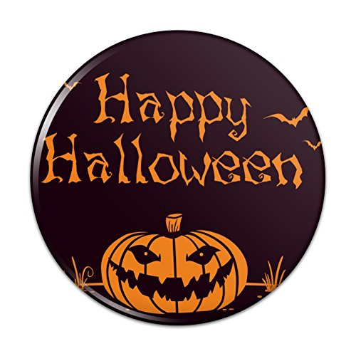 Happy Halloween Holiday Pumpkin Bats Pinback Button Pin - 2.25