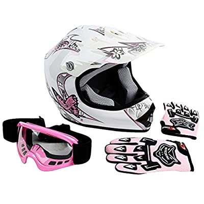 XFMT Youth Kids Motocross Offroad Street Dirt Bike Helmet Goggles Gloves Atv Mx Helmet Pink Butterfly from XFMT