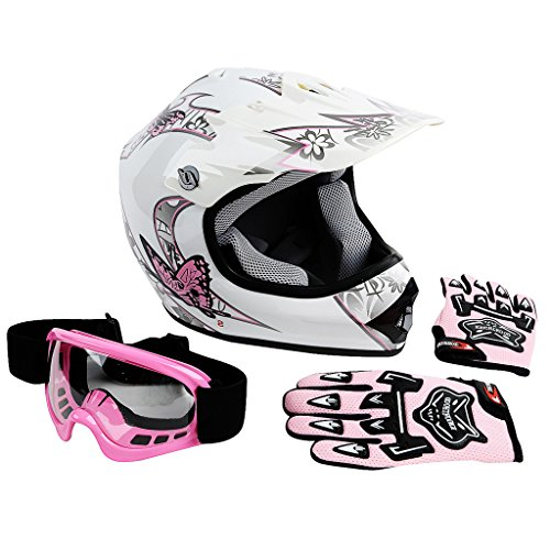 XFMT Youth Kids Motocross Offroad Street Dirt Bike Helmet Goggles Gloves Atv Mx Helmet Pink Butterfly M ()