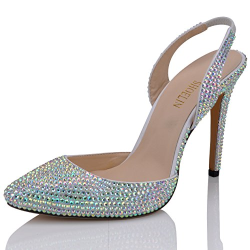 SHOELIN Slingback Sandals, Silver Crystal Rhinestone Elegant Pointed Toe Wedding High Heels Shoes