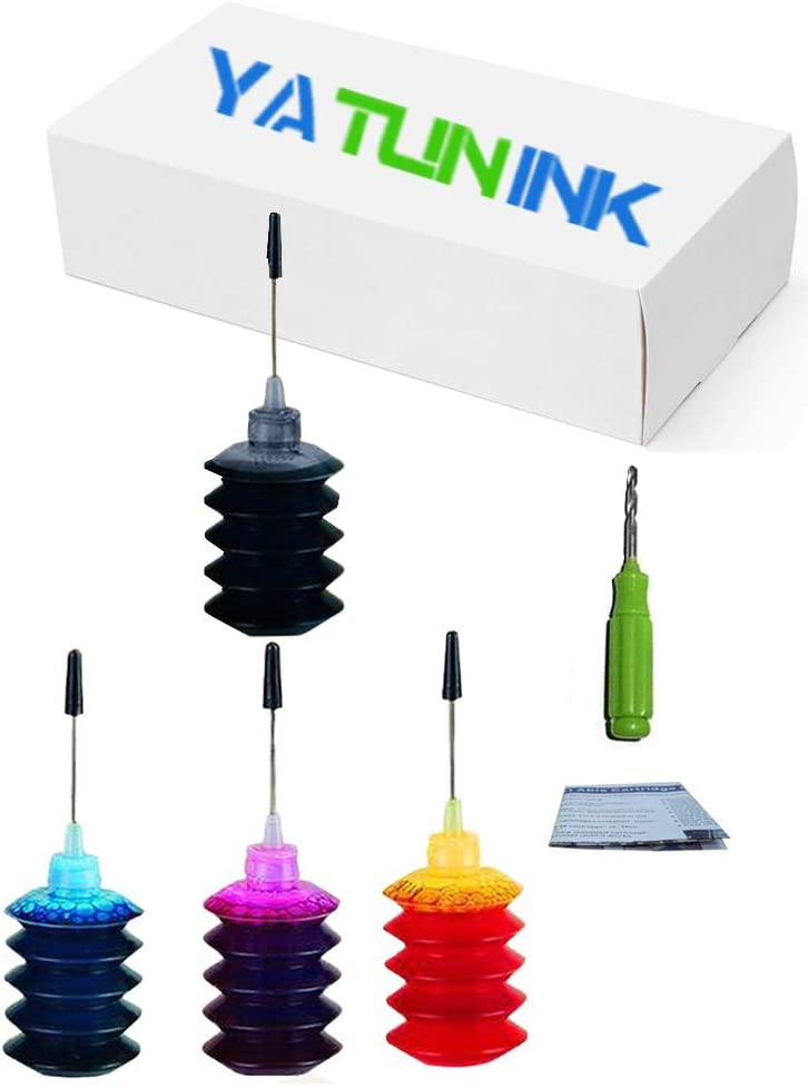 YATUNINK Premium Refill Ink Kit Replacement for HP 63 63XL Black (F6U64AN) & Color (F6U63AN) Compatible with Deskjet 2130 3630 OfficeJet 4655 1110 Envy 4516 4512 Printer (4 x 30ML)