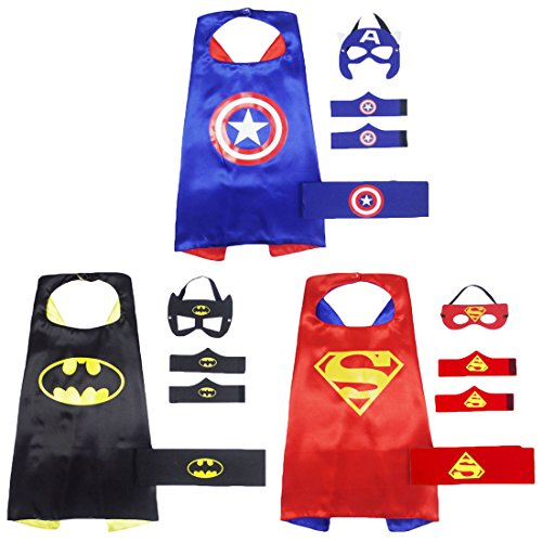 Xin Shi Halloween Superhero Satin Capes boy and Masks ,Dress Up child Toys (set 2 (as shown)) - Superheroes To Dress Up As