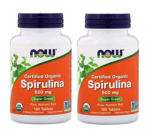 Now Organic Spirulina Super Green, Pure, Nutrient Rich and Super Green as an Herbal Supplement (180 Tablets) Pack of 2