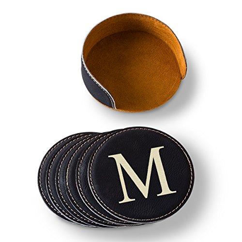 Personalized Black Round Leatherette Coaster Set - Personalized Black Coaster Set - Monogrammed Coaster Set - Custom Coaster Set