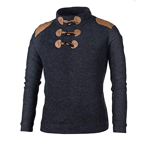 kaifongfu Men Button Knit Tops Half-High Neck Solid Color Shirt(Navy,XL) -