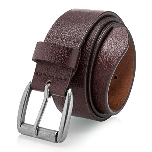 Men's Casual Jean Belt Soft Top Grain Leather Roller Buckle 38MM Brown (Size 28)