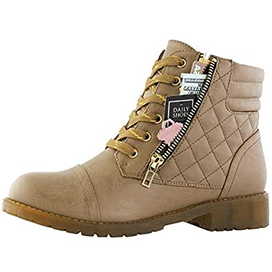 DailyShoes Women's Military Combat Boots Quilted Lace Up Buckle Ankle High Exclusive Credit Card Pocket, Premium Beige Pu, 5 B(M) US