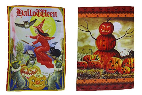 ALBATROS 12 inch x 18 inch Happy Halloween #15 Vertical Sleeve Flag for Garden for Home and Parades, Official Party, All Weather Indoors Outdoors -