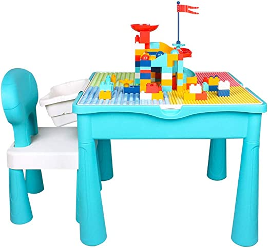 Yqihy Juego de Mesa 4 en 1 Play & Build para niños para Actividades en Interiores,