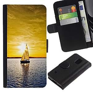Protector de cuero de la PU de la cubierta del estilo de la carpeta del tirón BY RAYDREAMMM - Samsung Galaxy S5 V SM-G900 - Soleado Mar Yate