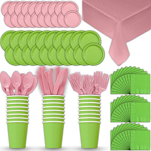 Paper Tableware Set for 24 - Lime Green & Light Pink - Dinner and Dessert Plates, Cups, Napkins, Cutlery (Spoons, Forks, Knives), and Tablecloths - Full Two-Tone Party Supplies Pack