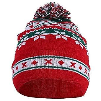 f35dbcb0cf0 SODIAL Winter Men Women Cute Christmas Snowflake Beanie Hat Knitted Ski Cap  Autumn Winter Santa Snowflake